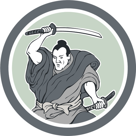 samurai warrior: Illustration of a samurai warrior wielding katana sword in fighting stance viewed from front done in retro style set inside circle on isolated background.