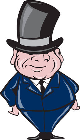 tophat: Illustration of a man wearing a top hat smiling viewed from front standing on isolated background done in cartoon style.