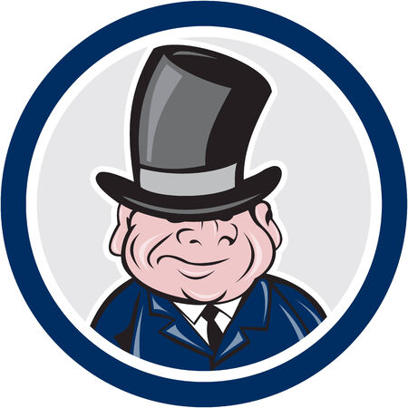 tophat: Illustration of a man wearing a top hat smiling viewed from front set inside circle on isolated background done in cartoon style. Illustration