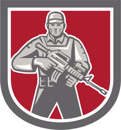 Illustration of a soldier serviceman with assault rifle facing front set inside shield crest shape on isolated white background done in retro style. Illustration
