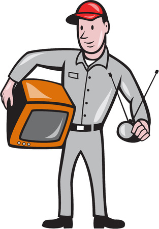 Illustration of TV repairman worker tradesman holding TV set and antennae viewed from front done in cartoon style on isolated white background