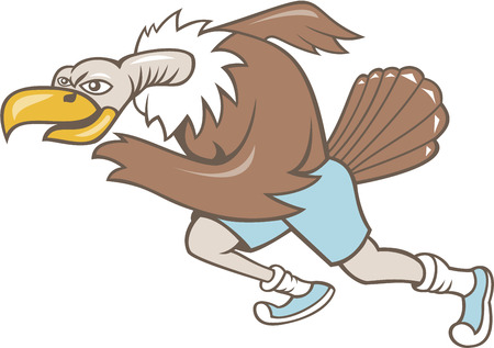 Illustration of a vulture buzzard condor runner running a marathon viewed from side on isolated white background done in cartoon style. Illustration