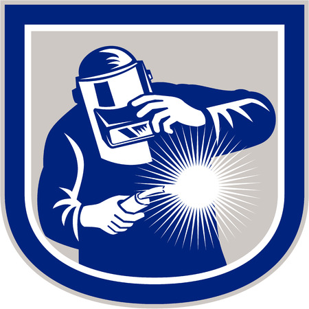 fabrication: Illustration of welder worker working using welding torch viewed from front holding his visor set inside shield crest shape on isolated background done in retro style.