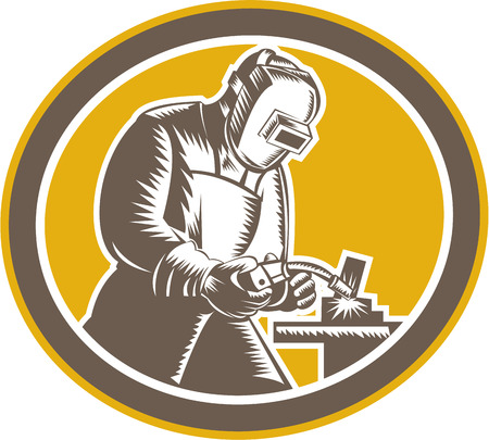 metal worker: Illustration of welder fabricator worker working using welding torch viewed from side set inside oval on isolated background done in retro woodcut style. Illustration
