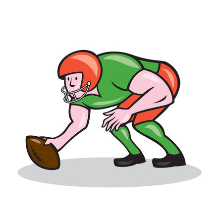 gridiron: Illustration of an american football gridiron player center squatting ready to snap facing side on isolated background done in cartoon style.