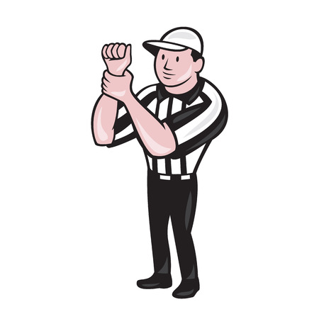 Illustration of an american football official referee with hand signaling illegal use of hands facing front on isolated background done in cartoon style. Vector