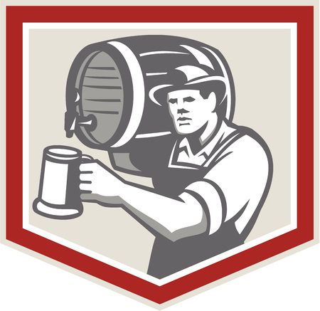 barmaid: Illustration of a barkeep, barkeeper, barperson, barman, barmaid, bar attendant, or taberneiro worker lifting carrying beer barrel on shoulder pouring beer into mug inside shield done in retro style.