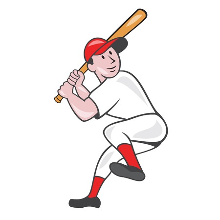 bateo: Ilustraci�n de un jugador de b�isbol bateador bateo bateador americana con un gol arriba en la pierna hecho en estilo de dibujos animados aislado en el fondo blanco.