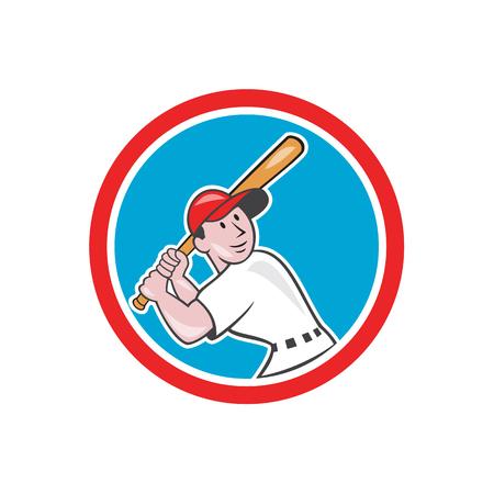 bateo: Ilustraci�n de un jugador de b�isbol bateador bateo con el bate bateador americano mirando conjunto dentro del c�rculo hecho en estilo de dibujos animados aislado en el fondo blanco. Vectores
