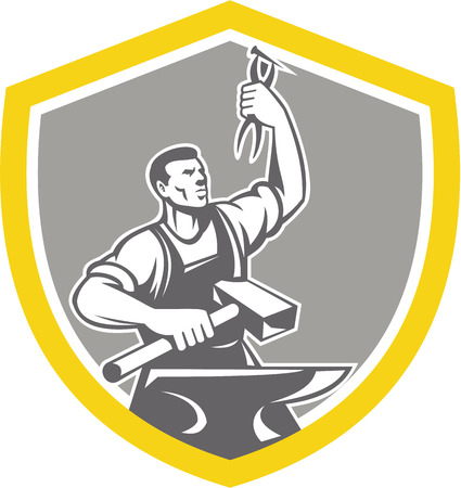 Illustration of a blacksmith worker with sledgehammer holding up pliers with anvil set inside shield crest shape done in retro style. Ilustração