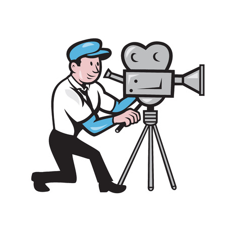 filming: Illustration of a cameraman movie director with vintage movie film camera set viewed from side done in cartoon style.