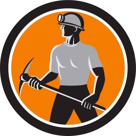 ax: Illustration of a coal miner wearing hardhat with pick axe facing front set inside oval done in retro style.