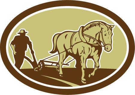 農夫および孤立した背景にレトロな木版画のスタイルで行われる楕円形の内部設定の正面から見て農家のフィールドを耕し馬のイラスト。