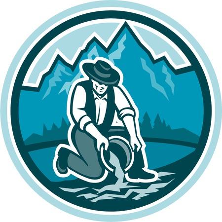 prospector: Ilustración de un prospector minero buscador de oro con la panorámica pan de oro en el río hecho en estilo retro, con montañas en segundo plano dentro de círculo sobre fondo aislado.