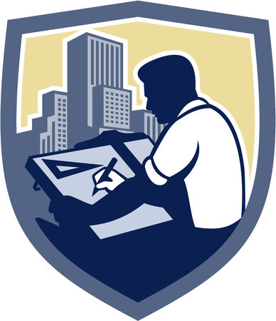 arquitecto: Ilustración de un dibujante que sostiene el lápiz y el dibujo arquitecto t-cuadrado visto desde el lado dentro de escudo forma de la cresta con los edificios en el fondo aislado hecho en estilo retro grabado en madera.