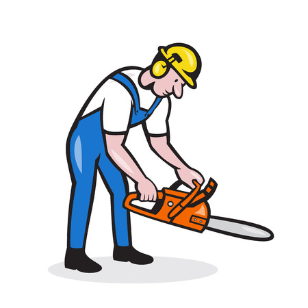 Illustration of lumberjack arborist tree surgeon holding operating a chainsaw set on isolated white background done in cartoon style.