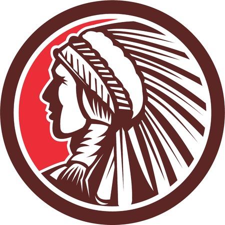 chieftain: Illustrazione di un nativo americano indiano capo visto dal lato set all'interno cerchio fatto in stile retr� isolato su sfondo bianco.