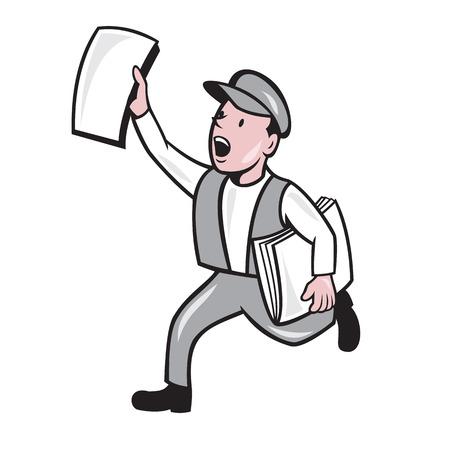 漫画のスタイルで行われる分離のバック グラウンドで実行されている新聞の販売を叫んで新聞配達のイラスト。