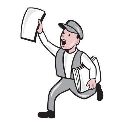 Illustration of a newsboy shouting selling newspaper running on isolated background done in cartoon style. Illustration