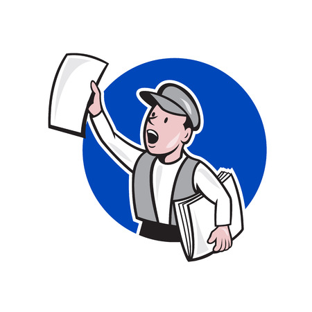 Illustration of a newsboy shouting selling newspaper on isolated background done in cartoon style.