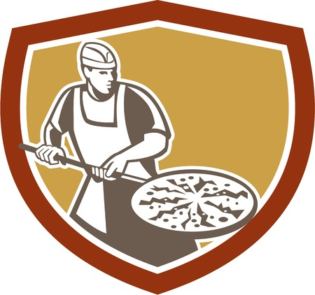 pizza maker: Illustration of a pizza maker baker holding a peel with pizza pie set inside shield crest done in retro style on isolated white background.