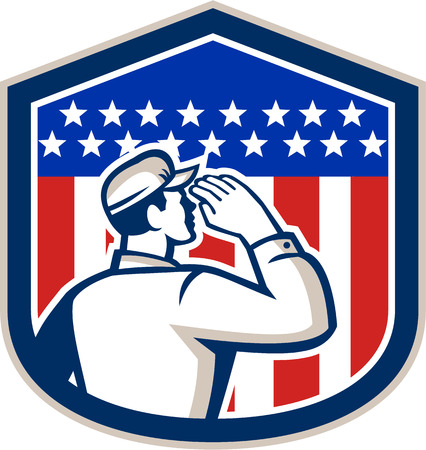 serviceman: Illustration of an American soldier serviceman saluting USA stars and stripes flag viewed from rear set inside shield crest shape done in retro style. Illustration