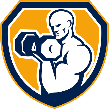hand weight: Illustration of a strongman muscular guy pumping lifting dumbbells weight training  viewed from front set inside shield crest shape done in retro style. Illustration