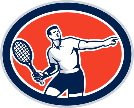 racquet: Illustration of a tennis player holding racquet viewed from front set inside oval on isolated background done in retro style.