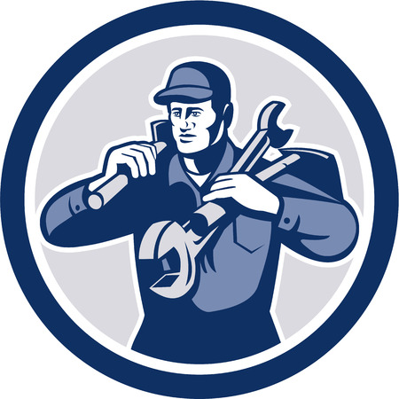 Illustration of a repairman mechanic tradesman handyman worker carrying spanner wrench and spade viewed from front iset inside circle on isolated background done in retro style. Vector