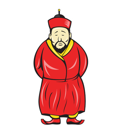 chinese hat: Illustration of a chinese asian man wearing robe and hat facing front on isolated background.