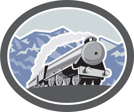 steam locomotive: Illustration of a steam train locomotive traveling with mountains in background viewed from front set inside oval shape done in retro style.