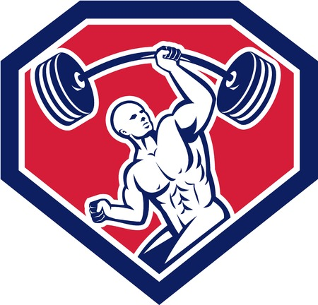 Illustration of a weightlifter lifting barbell with one hand set inside shield crest shape on isolated background viewed from front done in retro style.