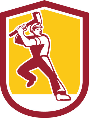 sledgehammer: Illustration of a union worker striking using sledgehammer hammer done in retro style set inside shield crest on isolated white background.