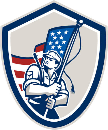 army flag: Illustration of an American soldier serviceman waving a USA stars and stripes flag viewed from front set inside shield crest shape done in retro style.