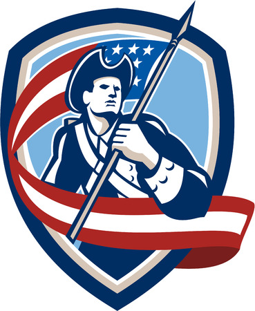 Illustration of an American Patriot revolutionary soldier waving USA stars and stripes flag looking to side set inside shield crest shape done in retro style Vector