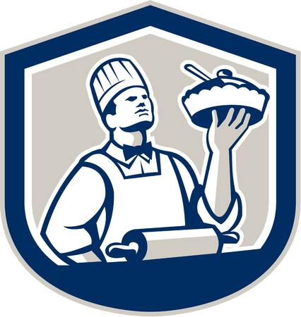 pastry chef: Illustration of a chef, cook or baker holding up pie pastry with roller in foreground  facing front set inside shield crest on isolated background done in retro style.