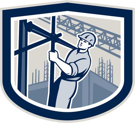 andamios: Ilustración de trabajador de la construcción que sube en andamios con edificios en segundo plano dentro shape cresta en el fondo aislado hecho en estilo retro. Vectores