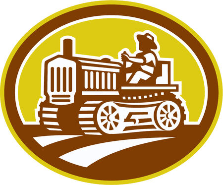 Illlustration of a farmer worker drive driving a vintage tractor plowing farm field set inside oval shape done in retro woodcut style on isolated background. Vector