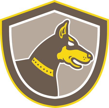 perro policia: Ilustración de una cabeza de perro guardián Doberman Pinscher visto desde lado dentro de forma de círculo sobre fondo aislado hecho en estilo retro. Vectores