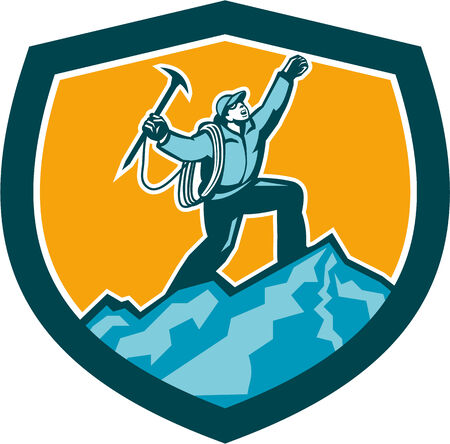 ice axe: Illustration of mountain climber climbing reaching the summit celebrating holding ice axe set inside shield crest shape on isolated background done in retro woodcut style.