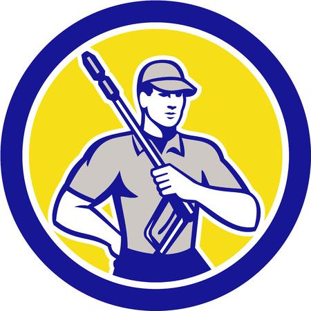 洗浄クリーナー労働者の前部のレトロなスタイルで行われる分離の背景に円の中にセットからみた水ブラスターを保持している男性の圧力のイラス
