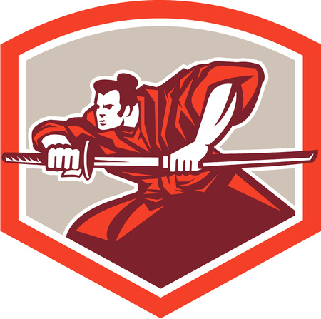Illustration of a Samurai warrior drawing katana sword in fighting stance viewed from side set inside shield crest shape done in retro style on isolated background.