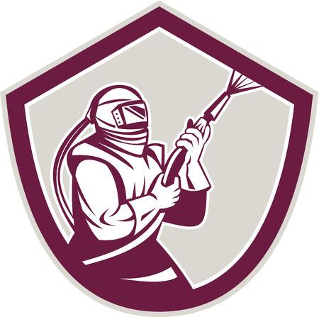 visor: Illustration of a sandblaster worker holding sandblasting hose wearing helmet visor viewed from side set inside shield crest shape done in retro style. Illustration