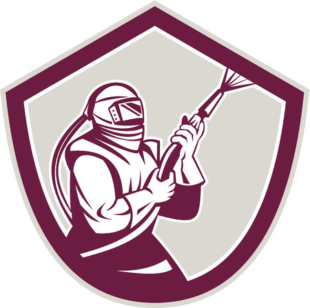 Illustration of a sandblaster worker holding sandblasting hose wearing helmet visor viewed from side set inside shield crest shape done in retro style. Illustration