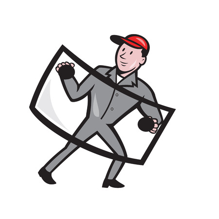 installer: Illustration of automotive glass installer carrying windshield viewed from front on isolated background done in cartoon style. Stock Photo