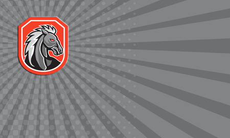 bronco: Business card illustration of a horse head looking tpo side set inside shield crest on isolated white background done in retro style.