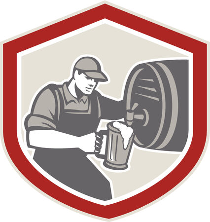 ale: Illustration of a barman barkeeper bartender pouring keg barrel of beer ale into mug facing side set inside shield on isolated background. Stock Photo