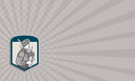 gaita: Ejemplo de la tarjeta de visita de un gaitero escocés que toca las gaitas vistos desde el conjunto de lado dentro de cresta escudo sobre fondo aislado hecho en estilo retro grabado en madera.