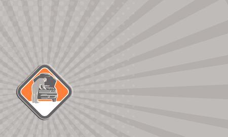 mecanico automotriz: Cardi Negocios llustration de un mec�nico de reparaci�n de veh�culo automotor visto de frente fij� forma interior del diamante hecho en estilo retro grabado en madera.