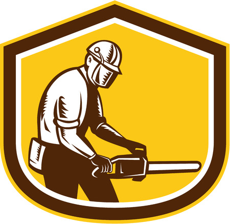 Illustration of lumberjack arborist tree surgeon operating a chainsaw set inside shield crest shape on isolated white background done in retro style.